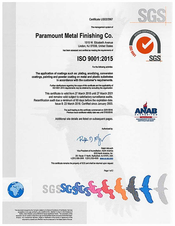 Quality Assurance Amp Control Paramount Metal Finishing